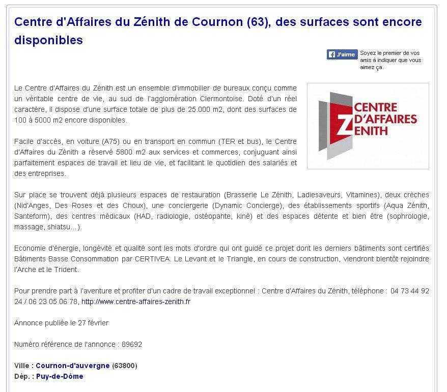 Revue de Presse - centre affaires zenith